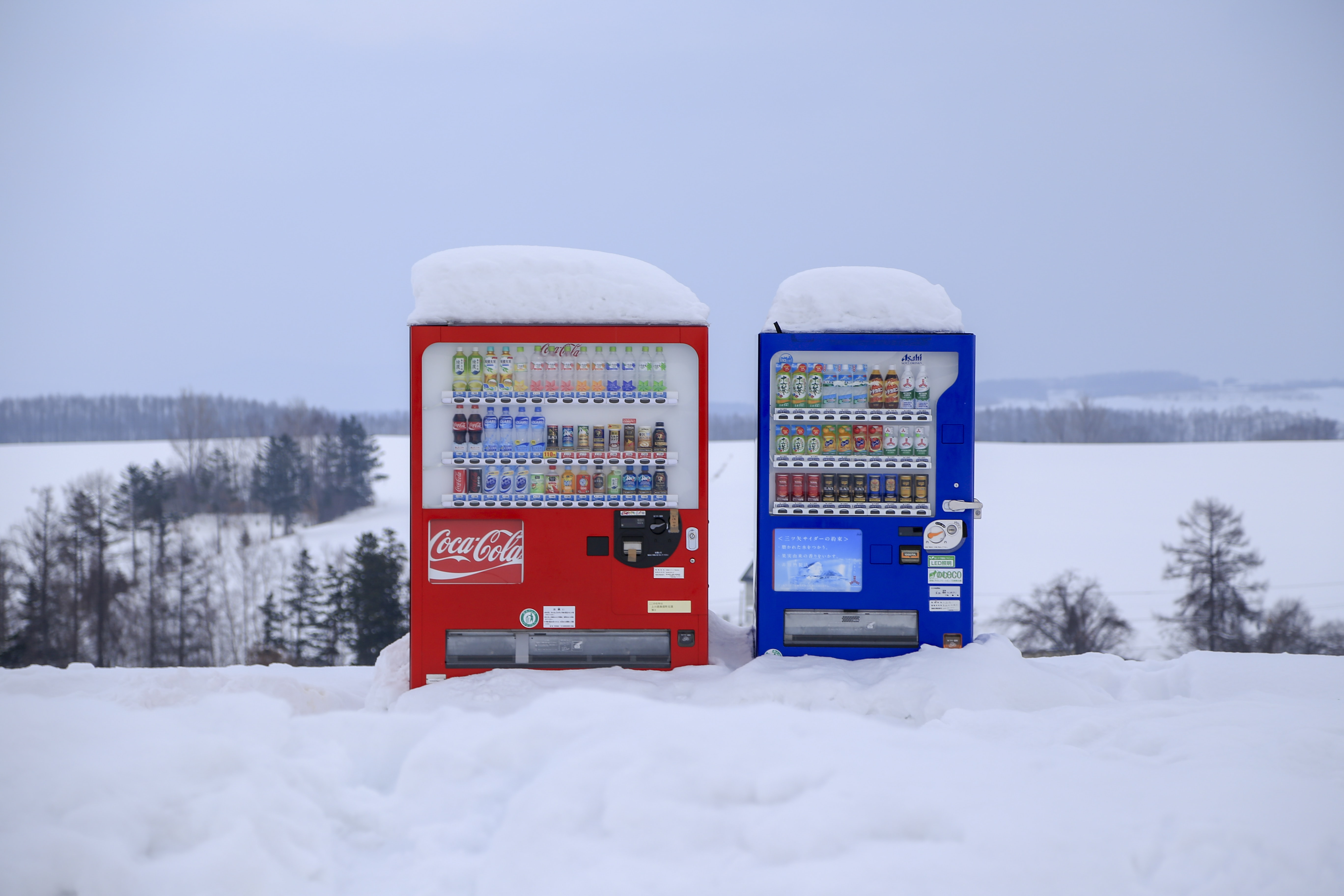 red and blue vending machines
