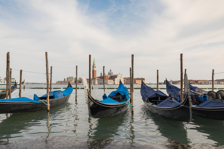 gray canoes docked on harbor