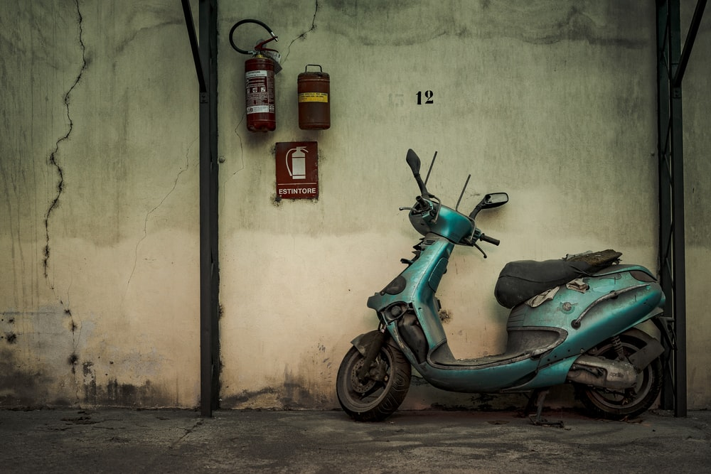 teal automatic scooter
