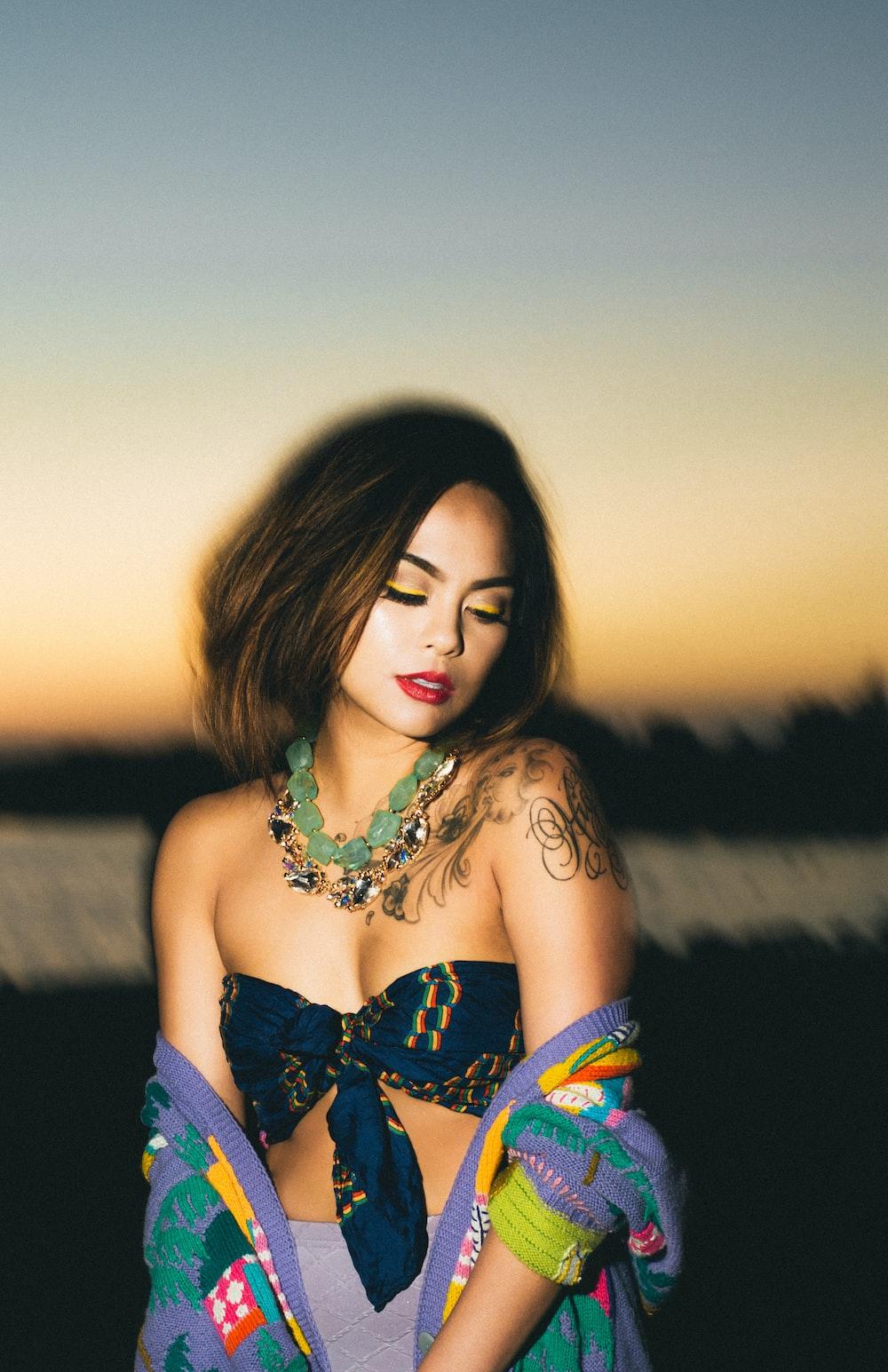 woman in blue strapless bra