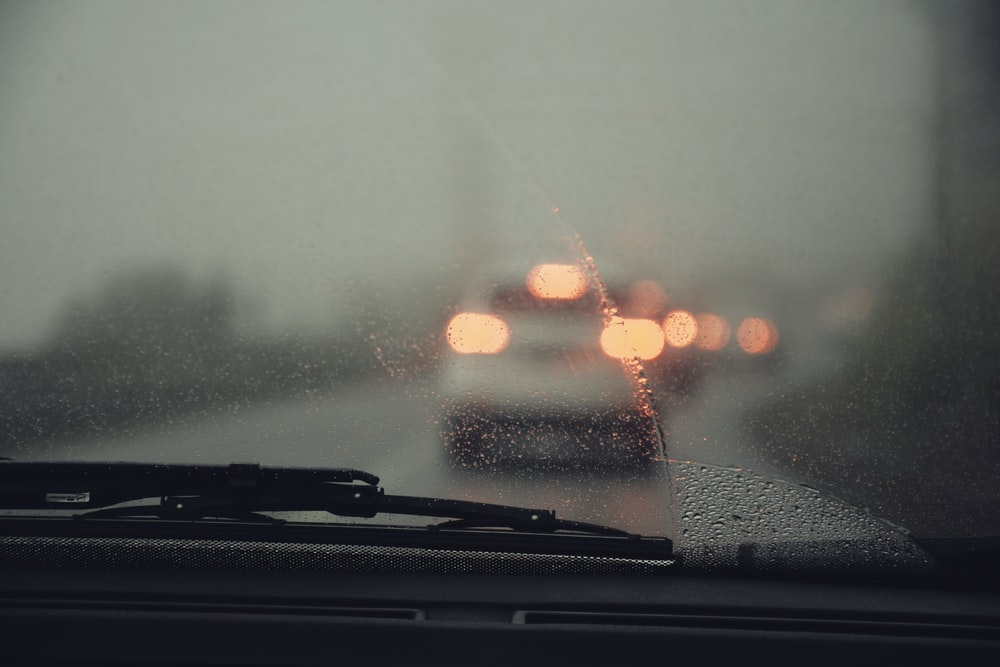vehicle glass with water droplets