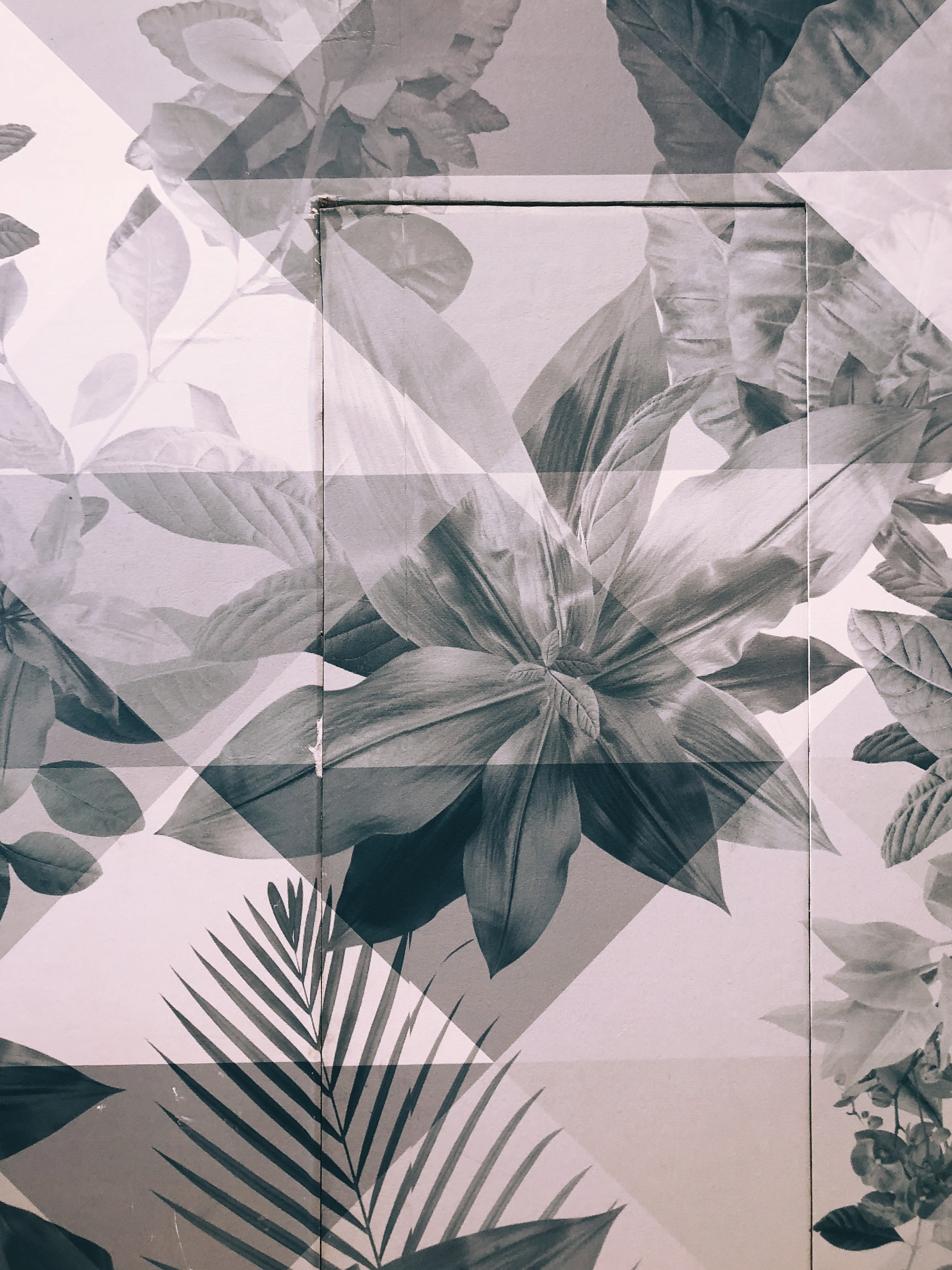 white and grey floral painted wall and door