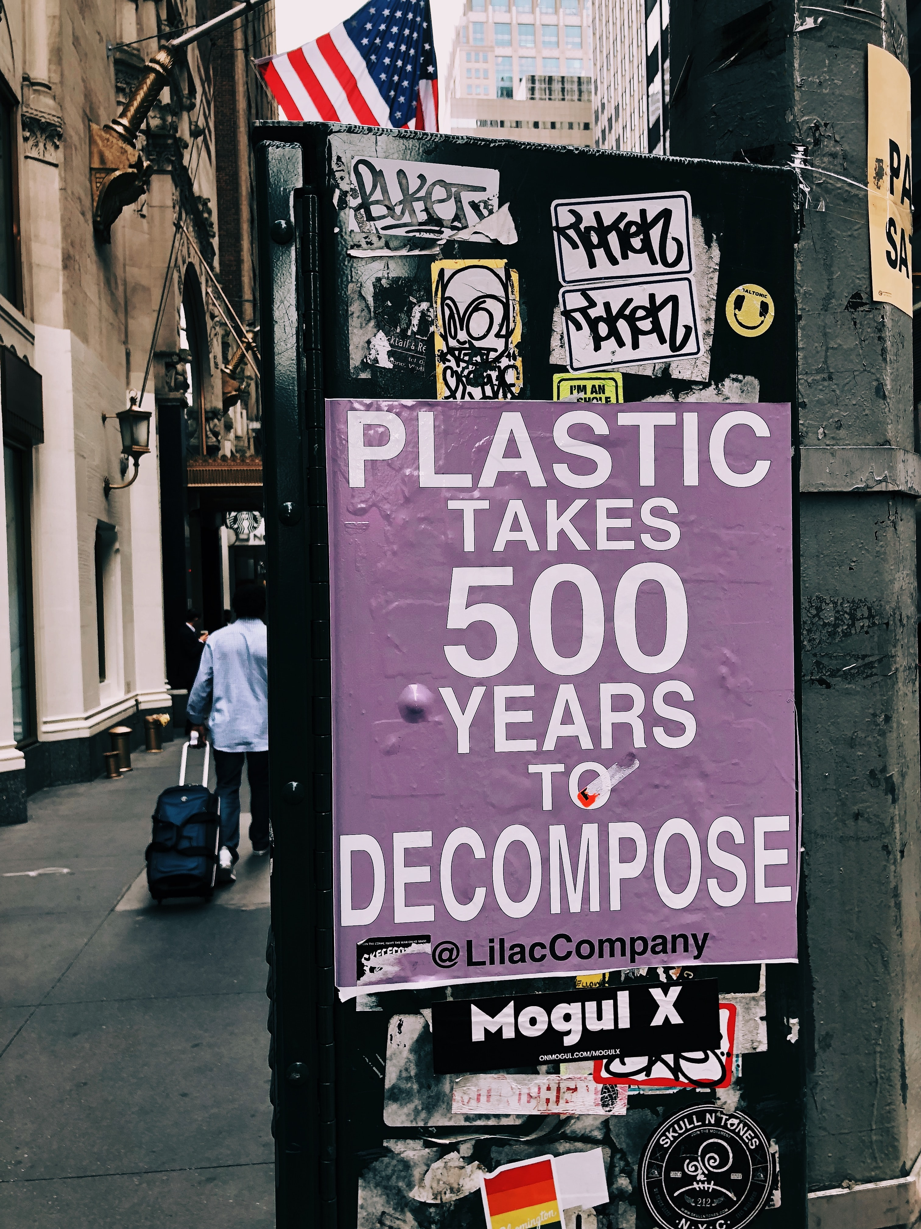 plastic takes 500 years to decompose poster on black surface