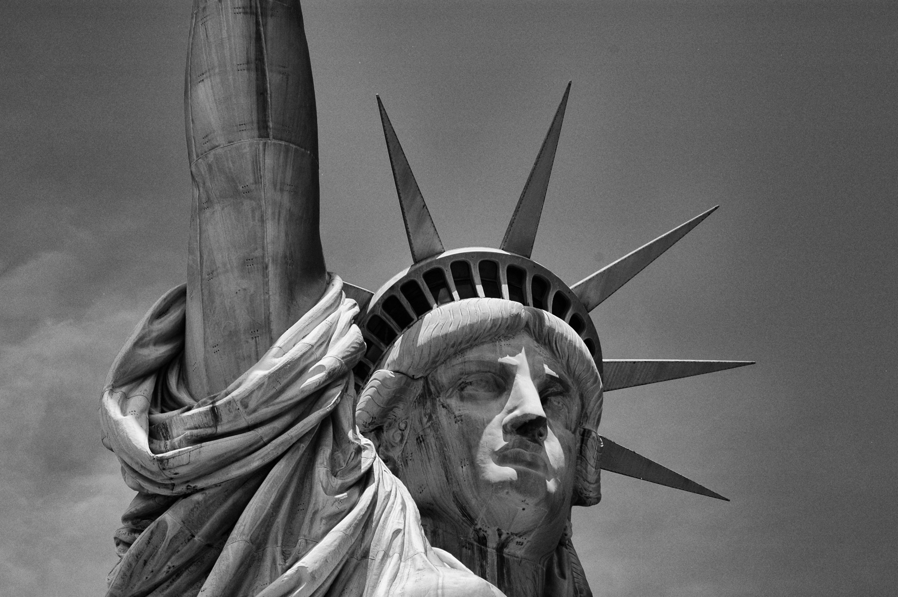 Statue Of Liberty grayscale photo