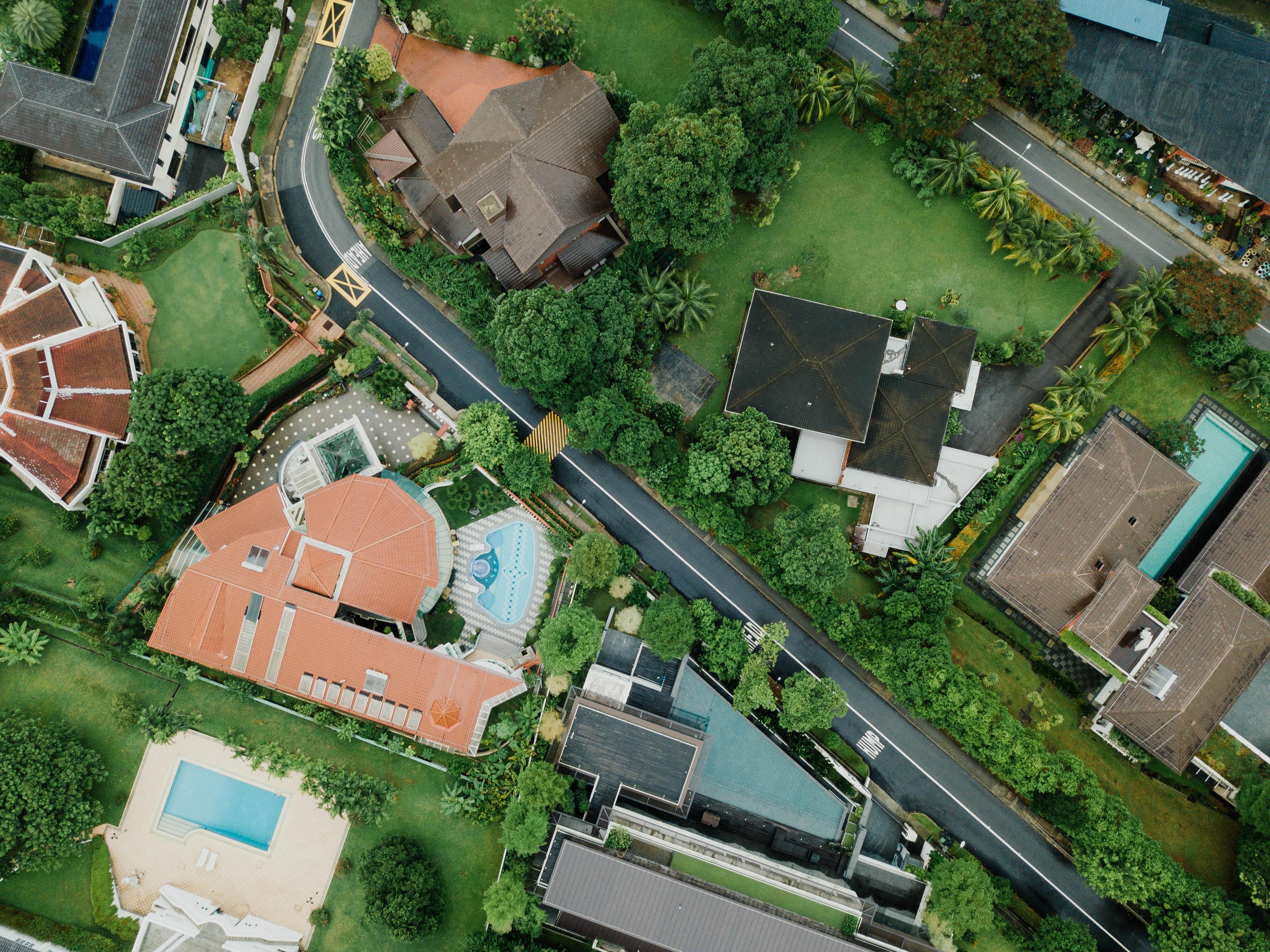 aerial view of village