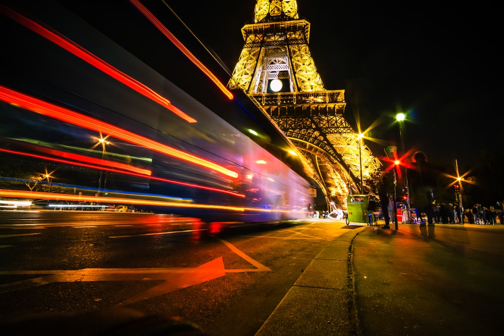 time lapse photo of Eiffel Tower