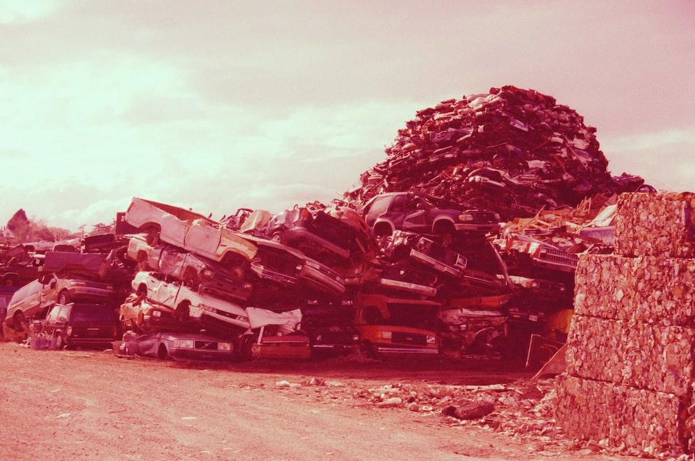 pile of broken cars