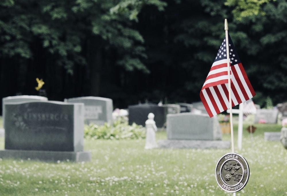 U.S. flag near graves