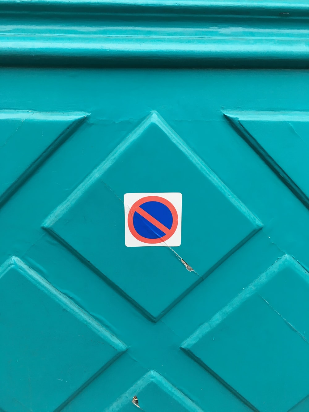 white and blue sticker