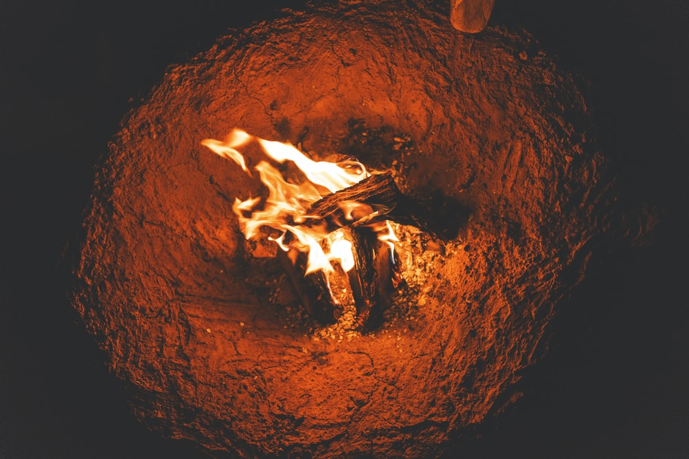 birds eye photography of bonfire