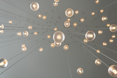 low angle photography of drop lights creative teams background