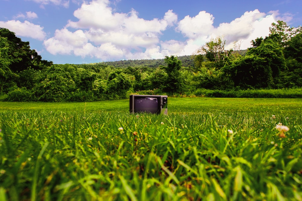 CRT television on grass field