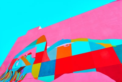 pink and multicolored wall painting pop art teams background