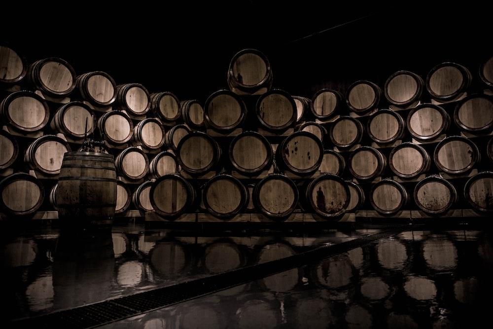 brown wooden wine barrel lot