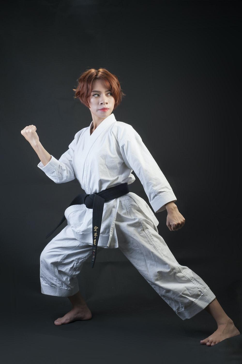 woman wearing karate gi