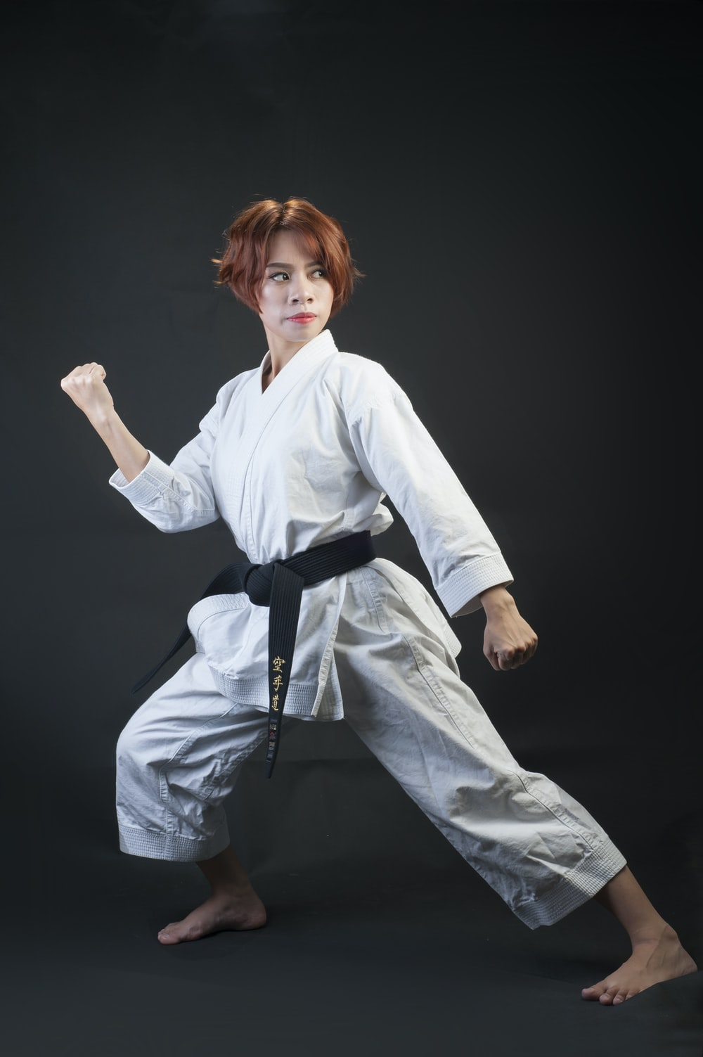 woman wearing karate gi
