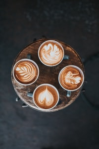 aerial photography of cafe latte on table