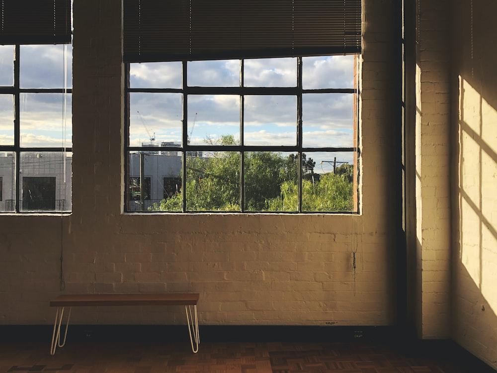 glass-panel window with black steel frame