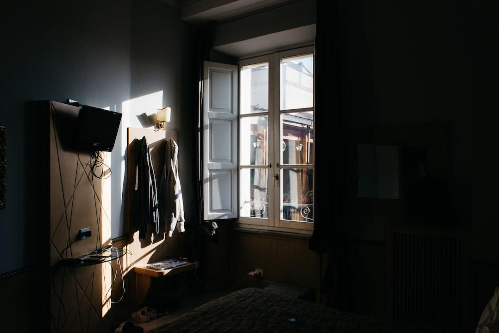 opened wooden window