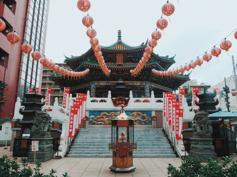 green and white Chinese temple