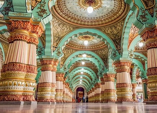 teal and brown cathedral
