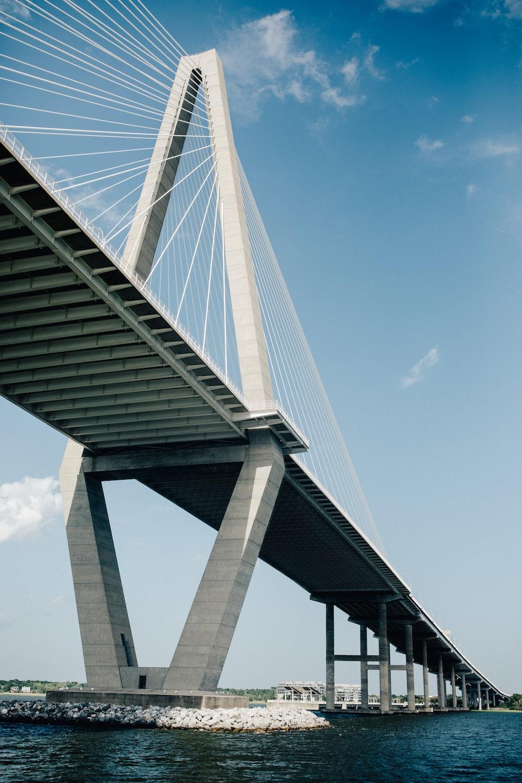 white suspension bridge on water