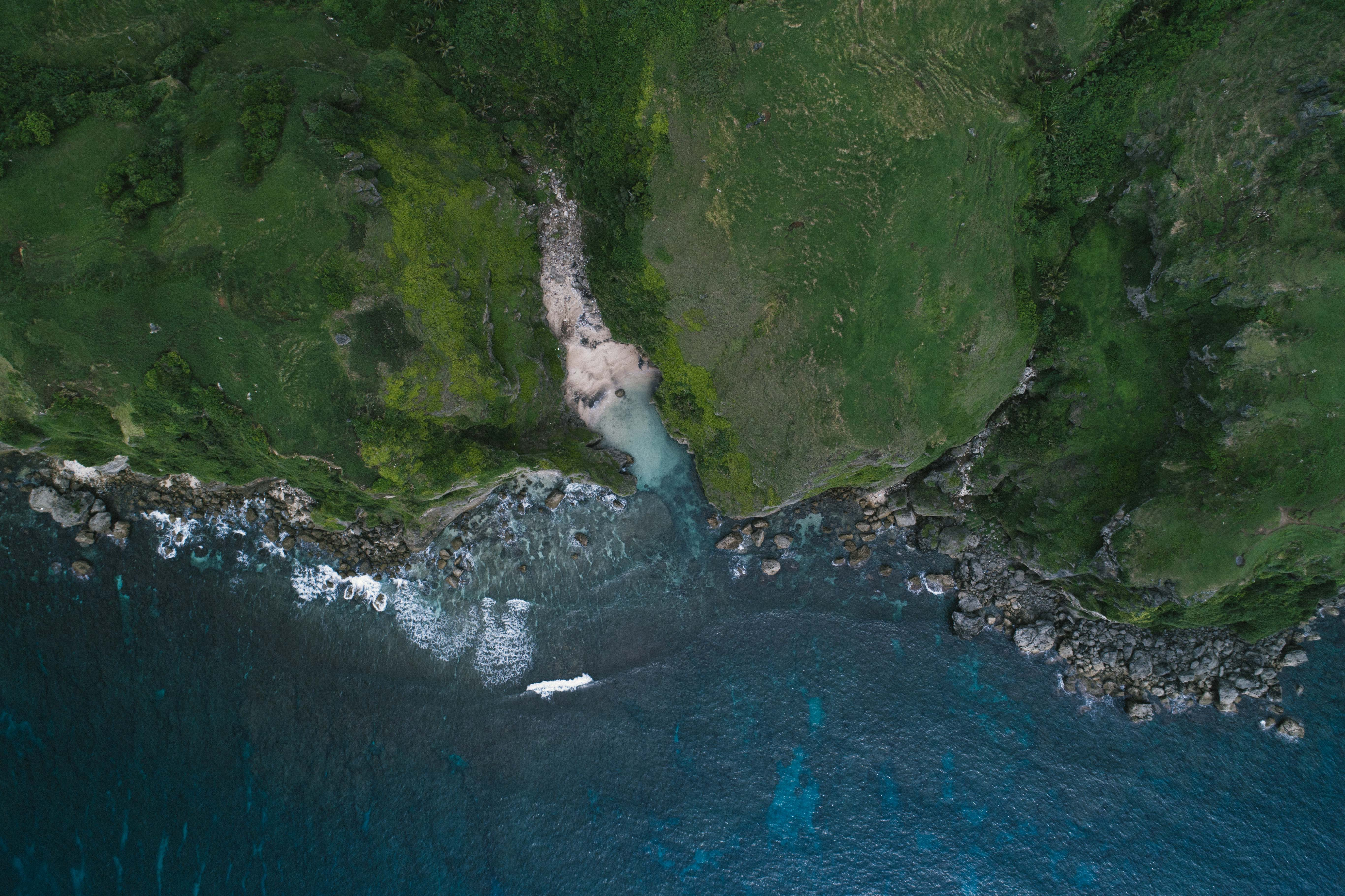 aerial photography of cliff