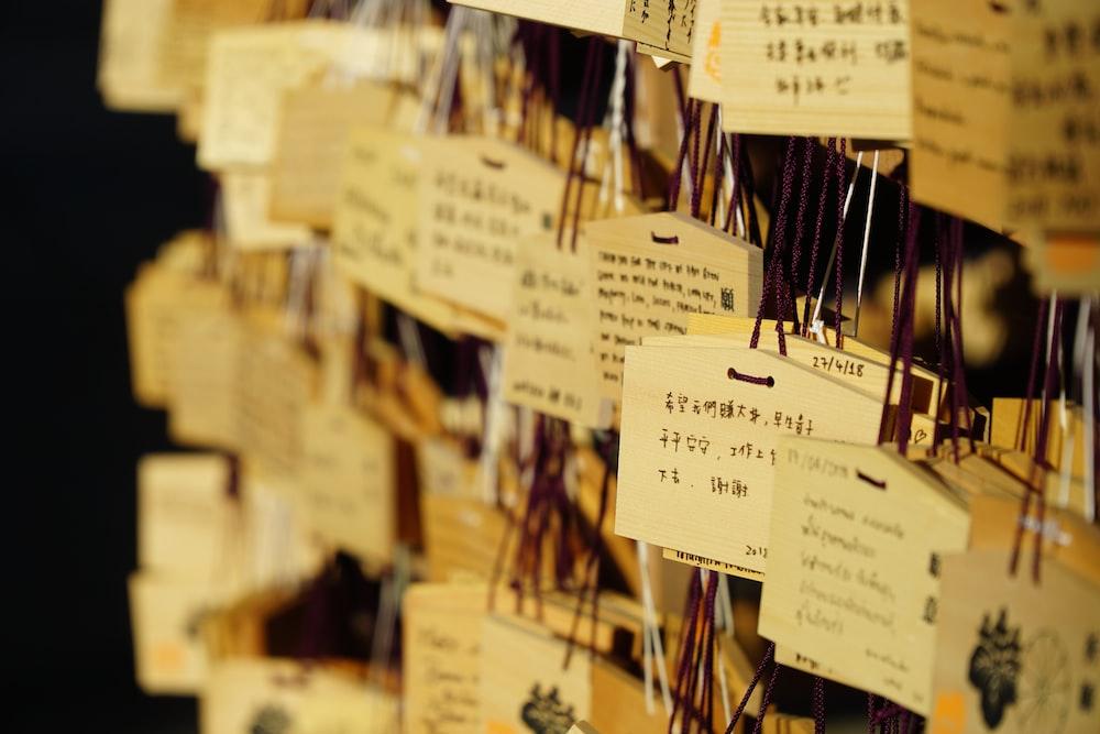 kanji printed hanging decors close-up photo