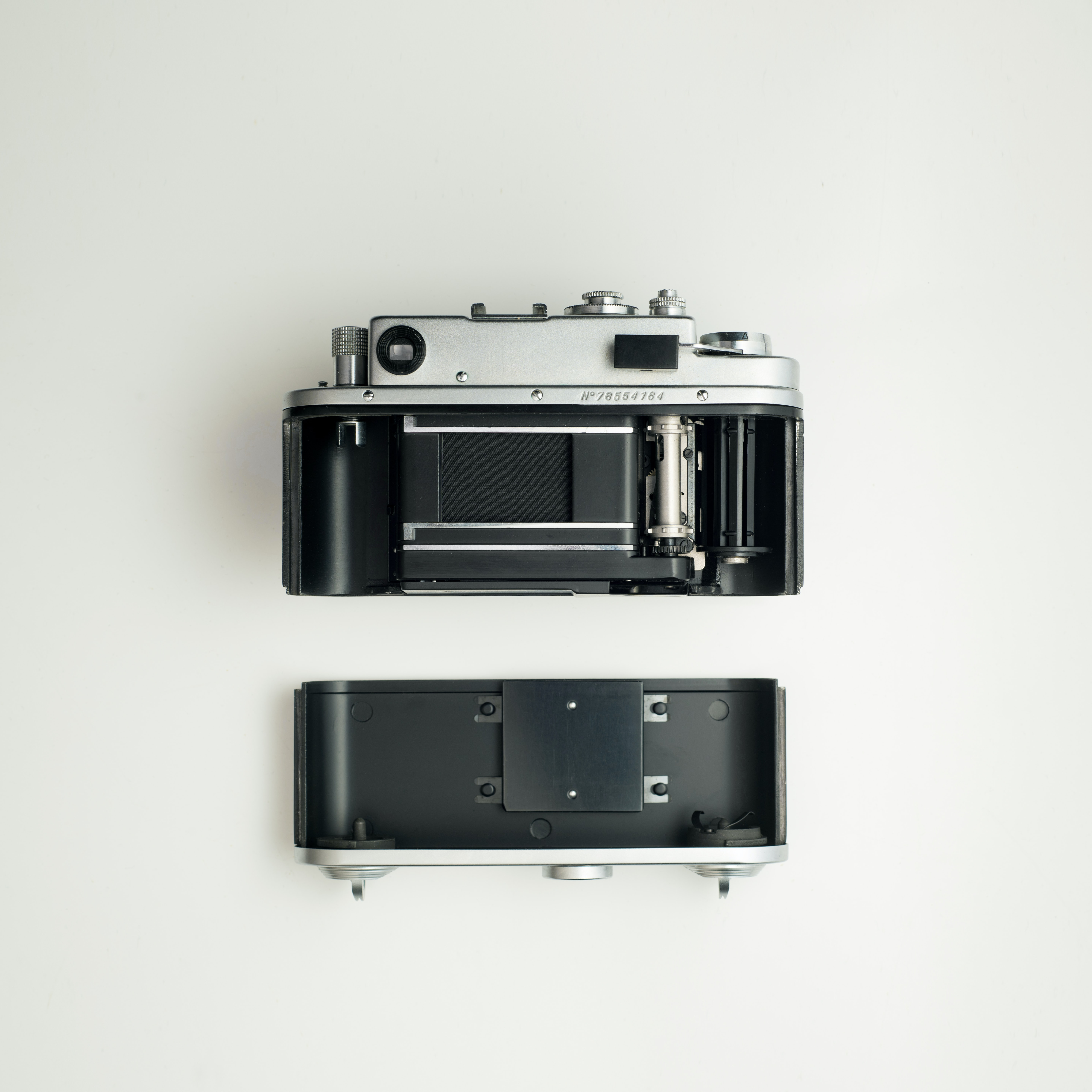 two gray disposable cameras