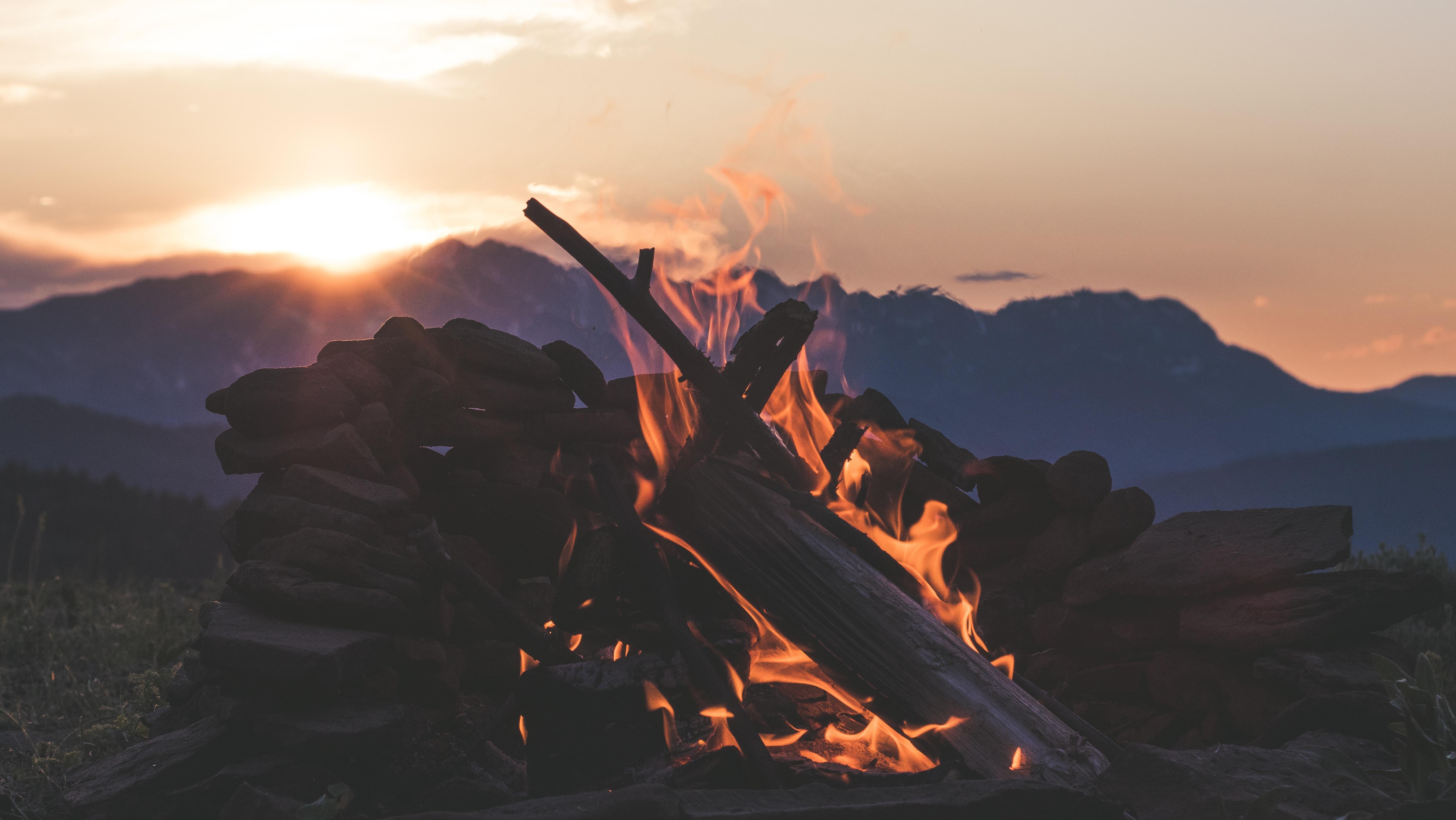 burning wood during daytime