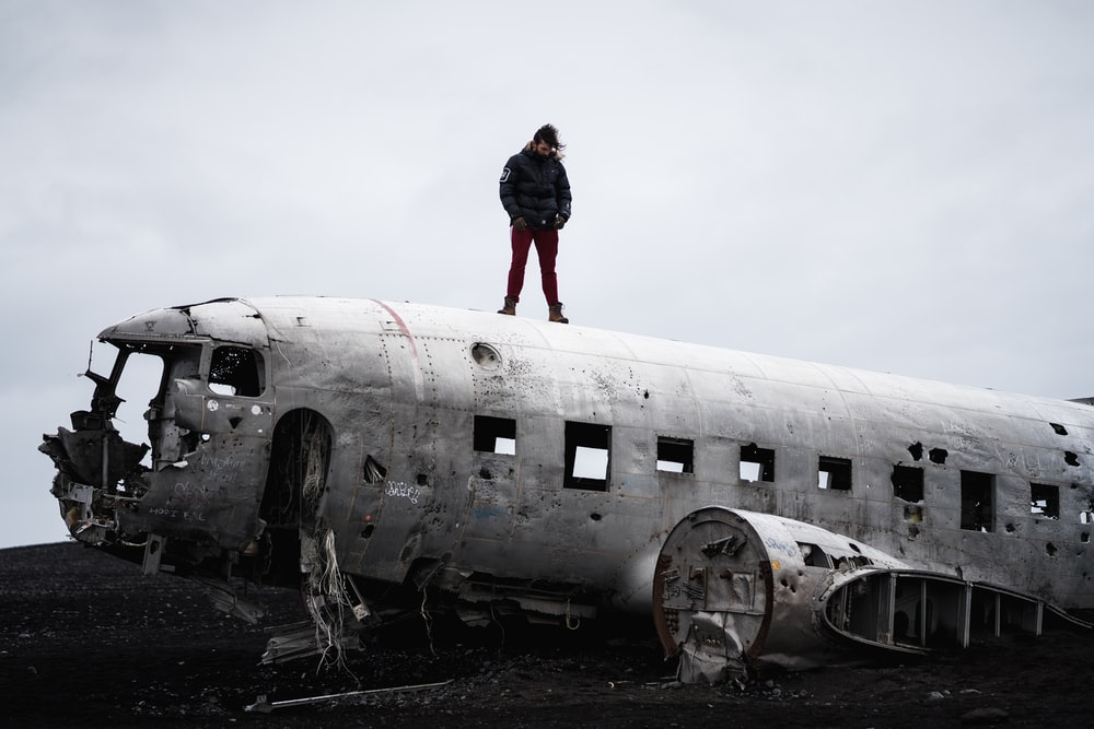 man on wrecked airliner