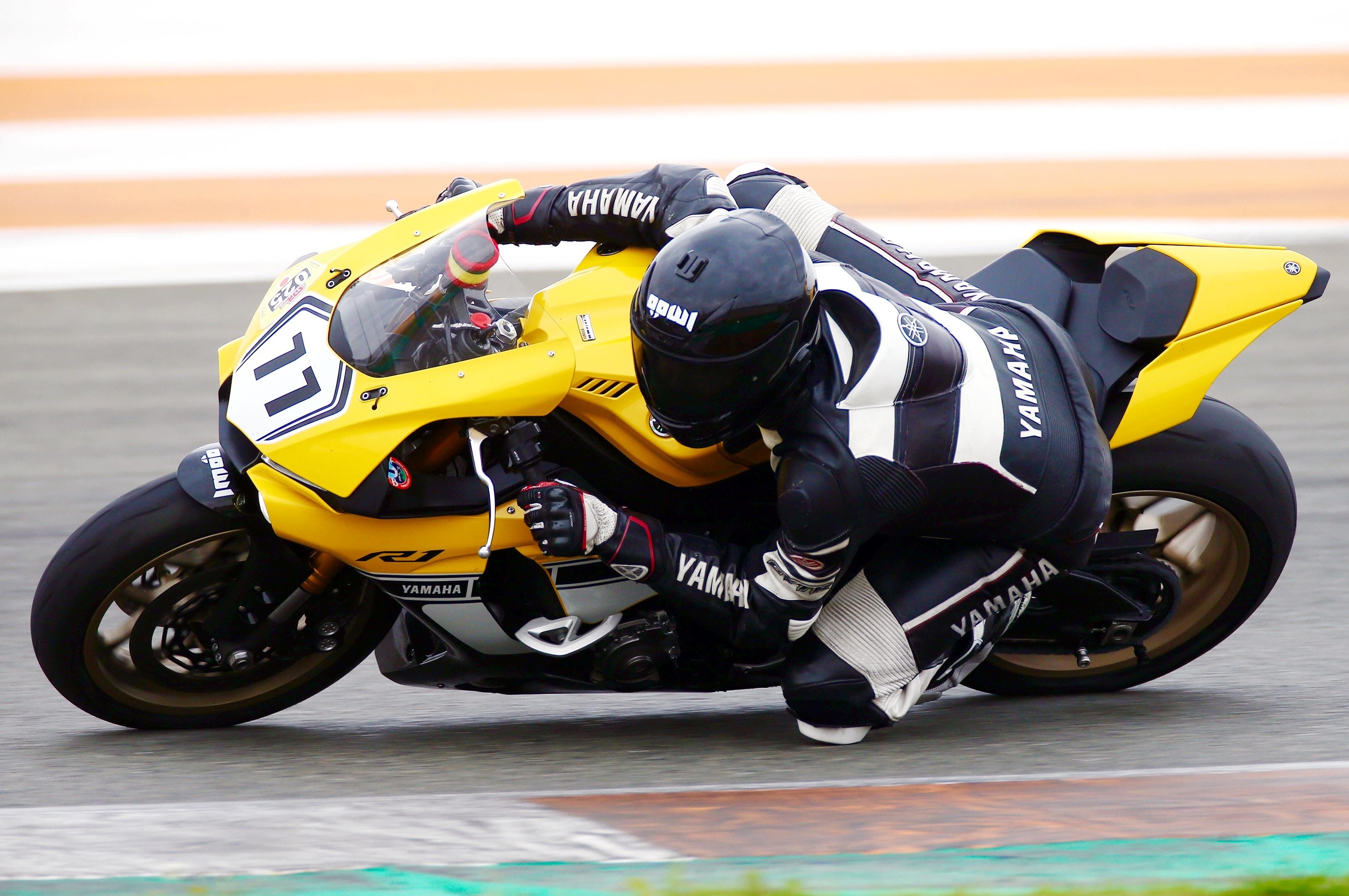 motorcycle rider in bunking gesture