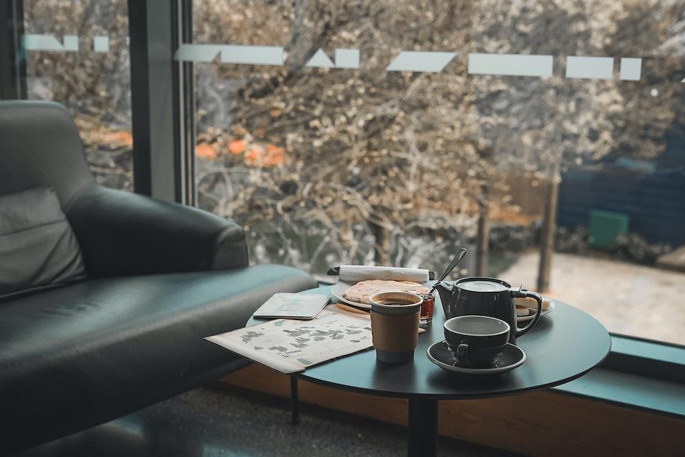 ceramic mugs on table