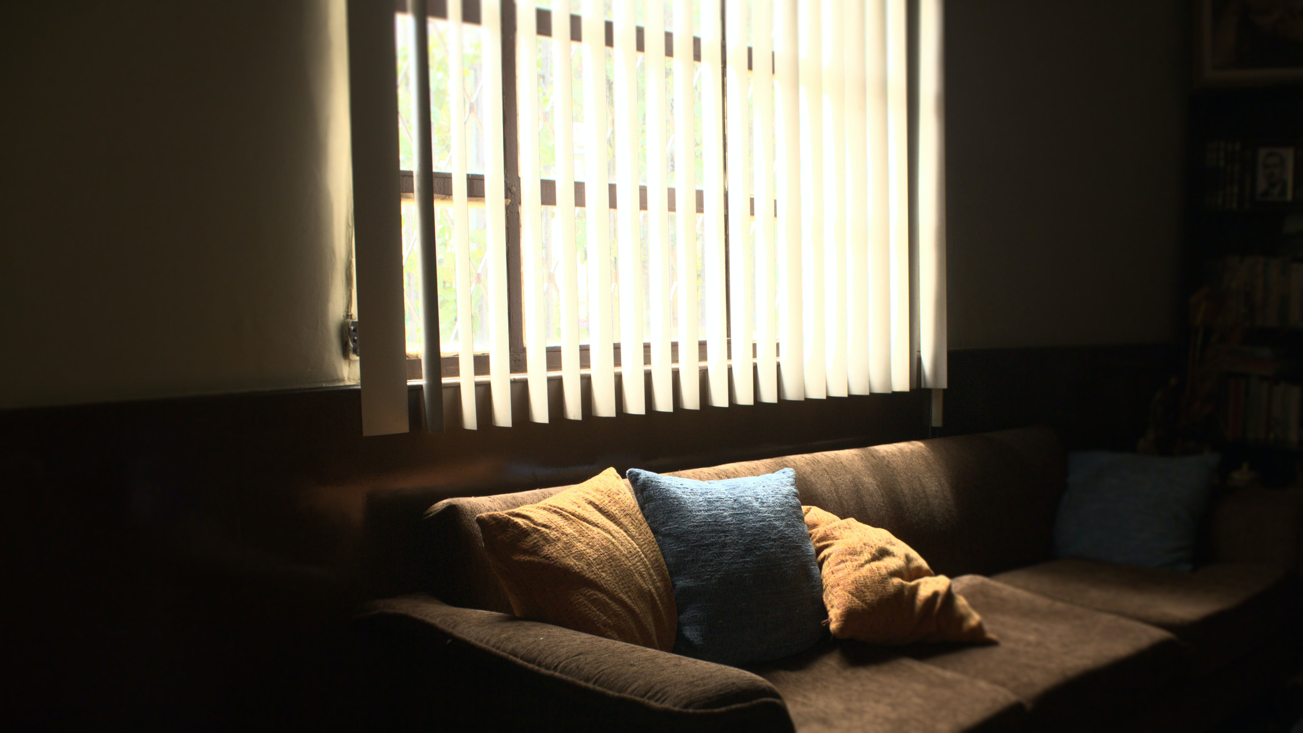 brown fabric 3-seat sofa in front of white window blinds cover window