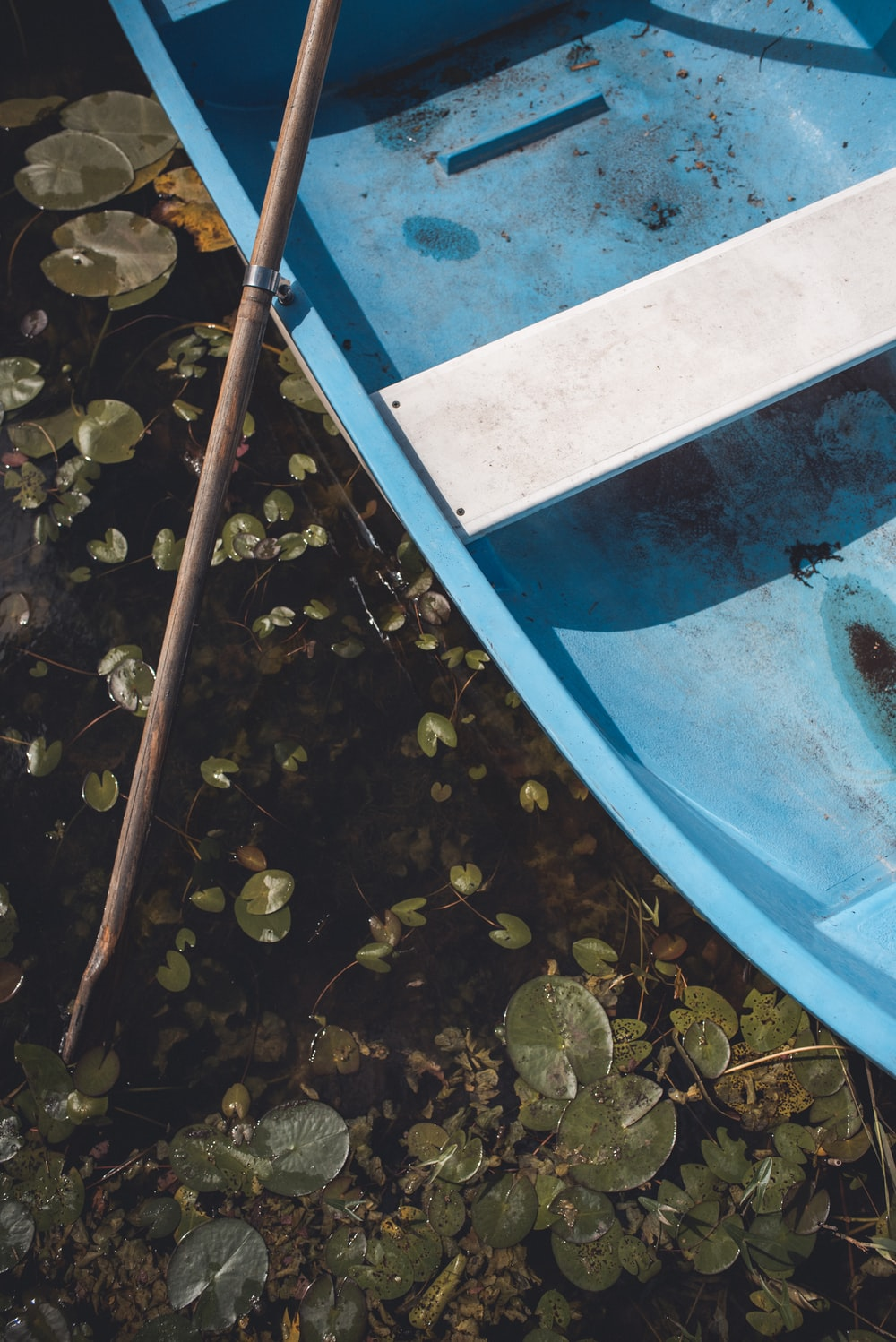 blue boat on body of water during day time