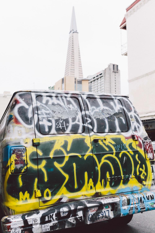 multicolored graffiti print car