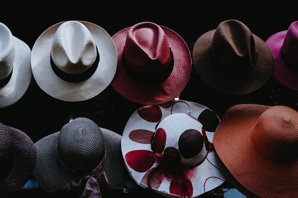 assorted-color cowboy hat lot
