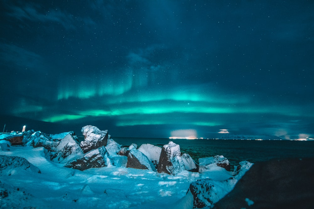landscape photo of Aurora lights