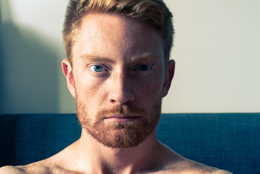 closeup photo of man face