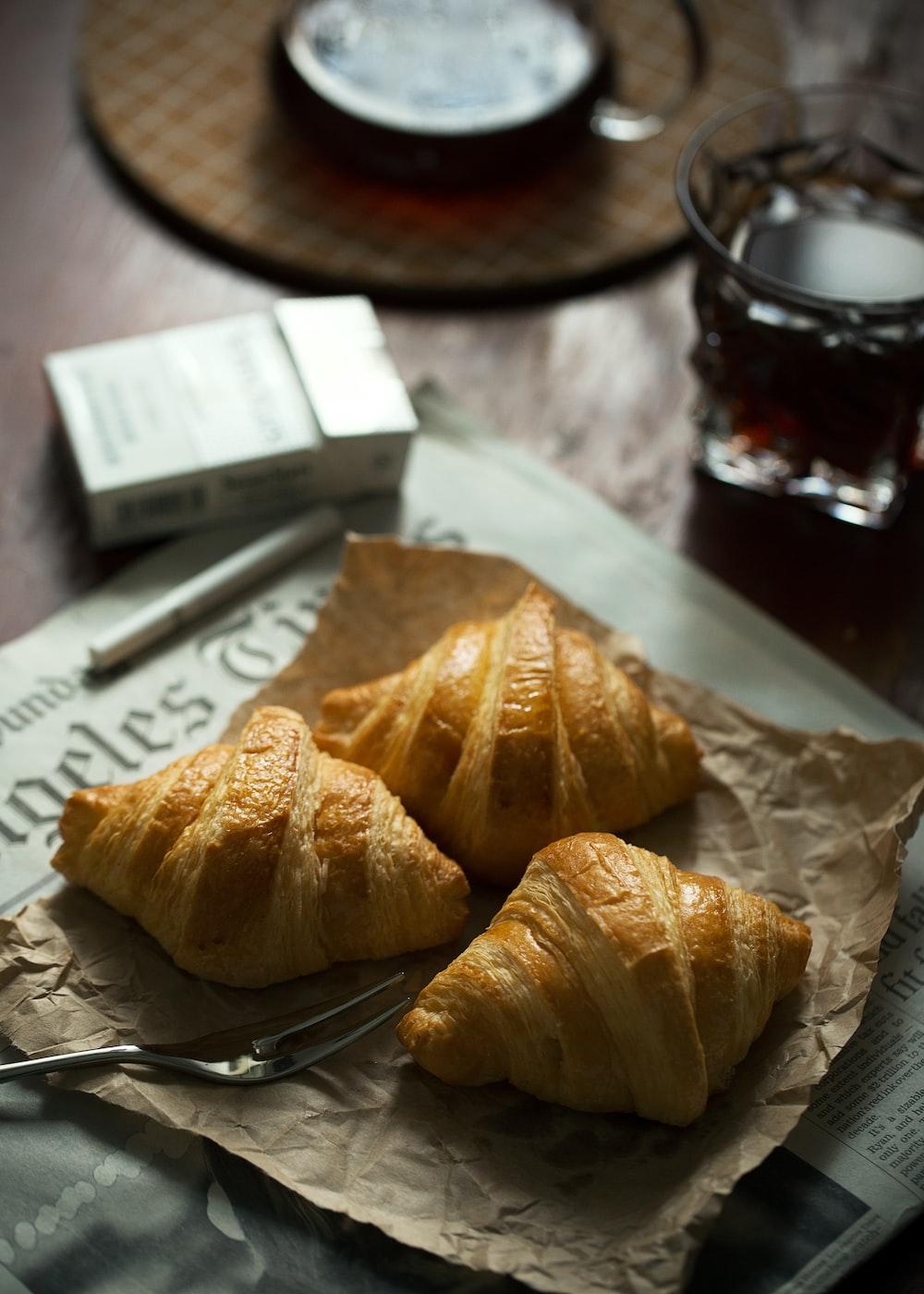 three croissant breads