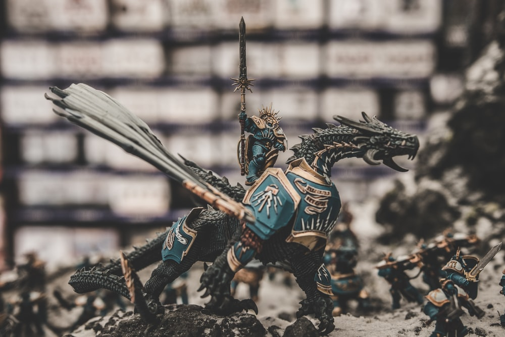 photo of knight riding dragon action figure