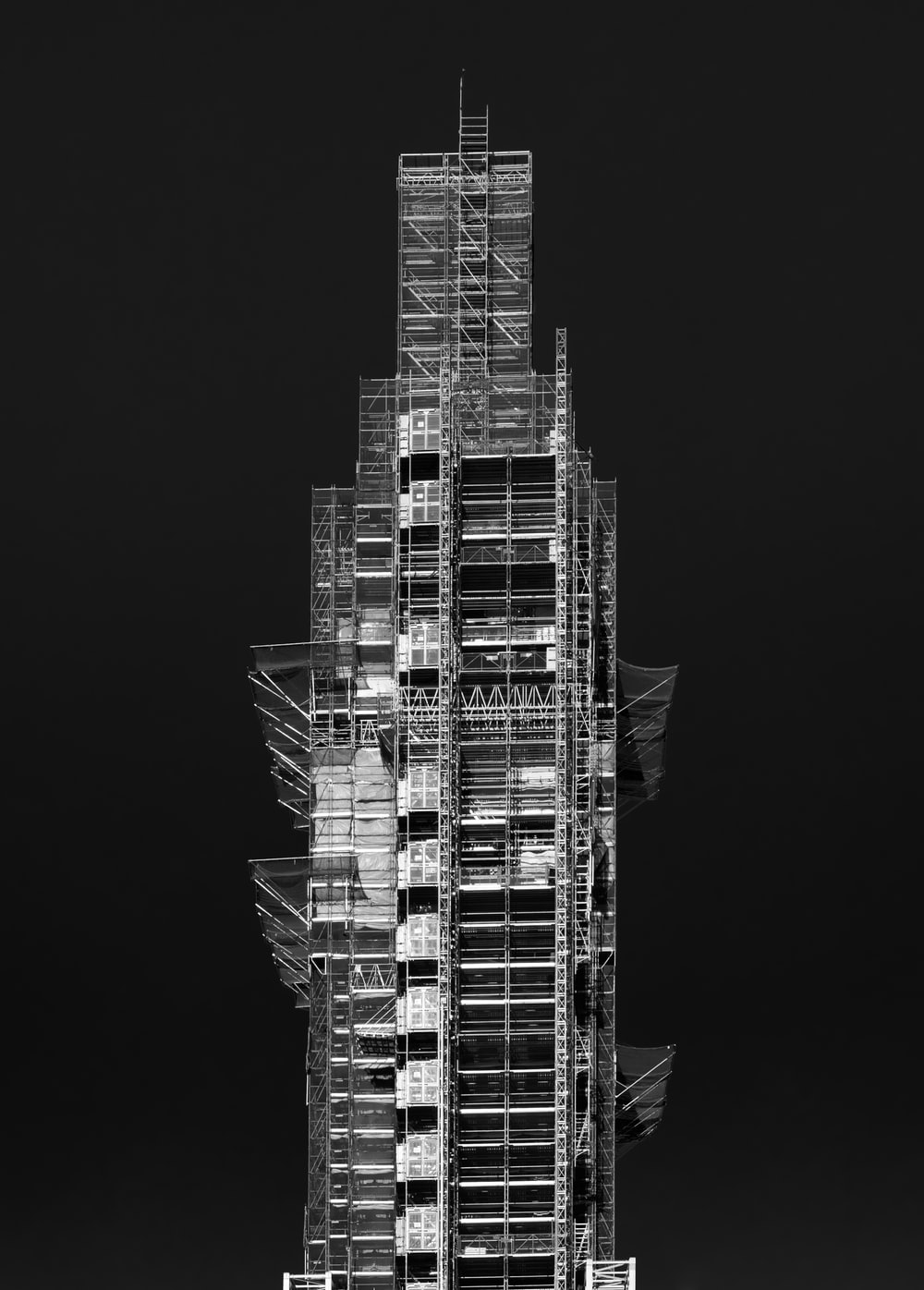 gray metal scaffolding