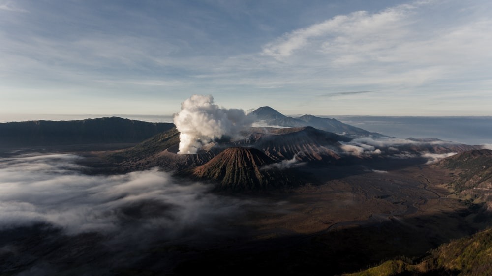 aerial photography of volcano