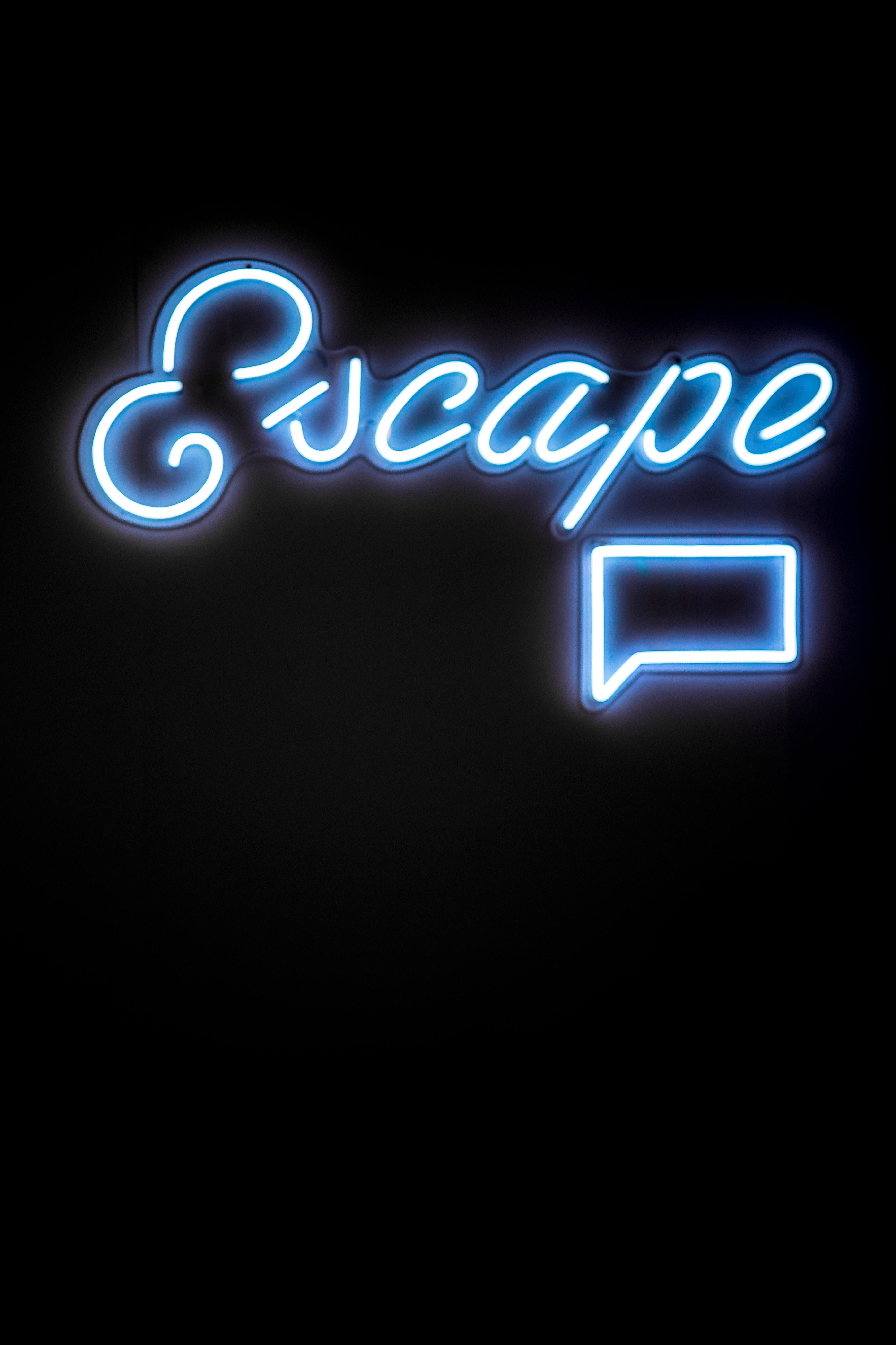 blue Escape neon signage