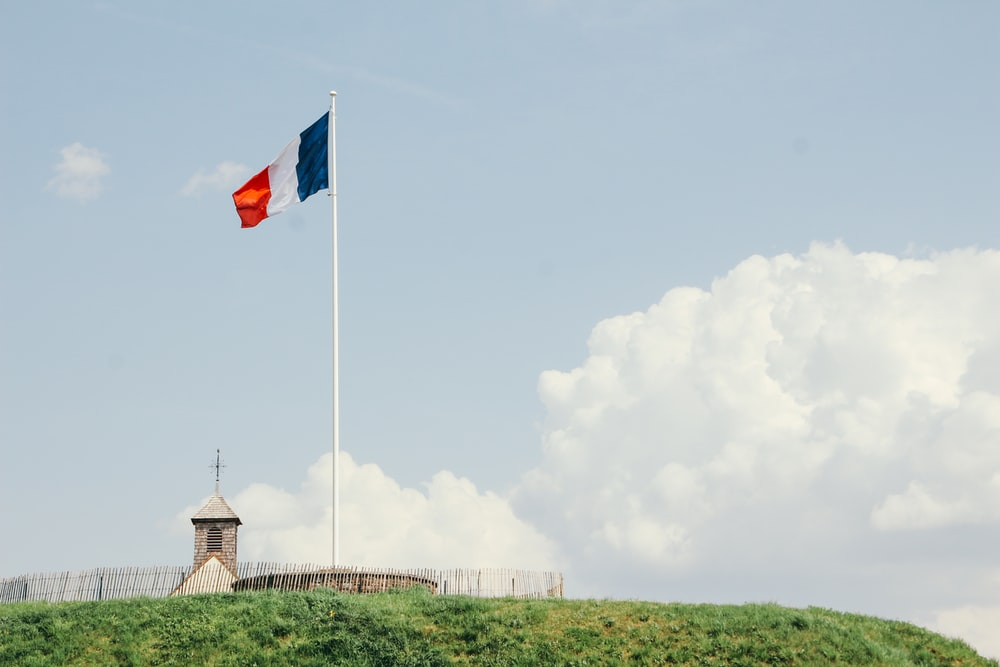 blue, white, and red country flag