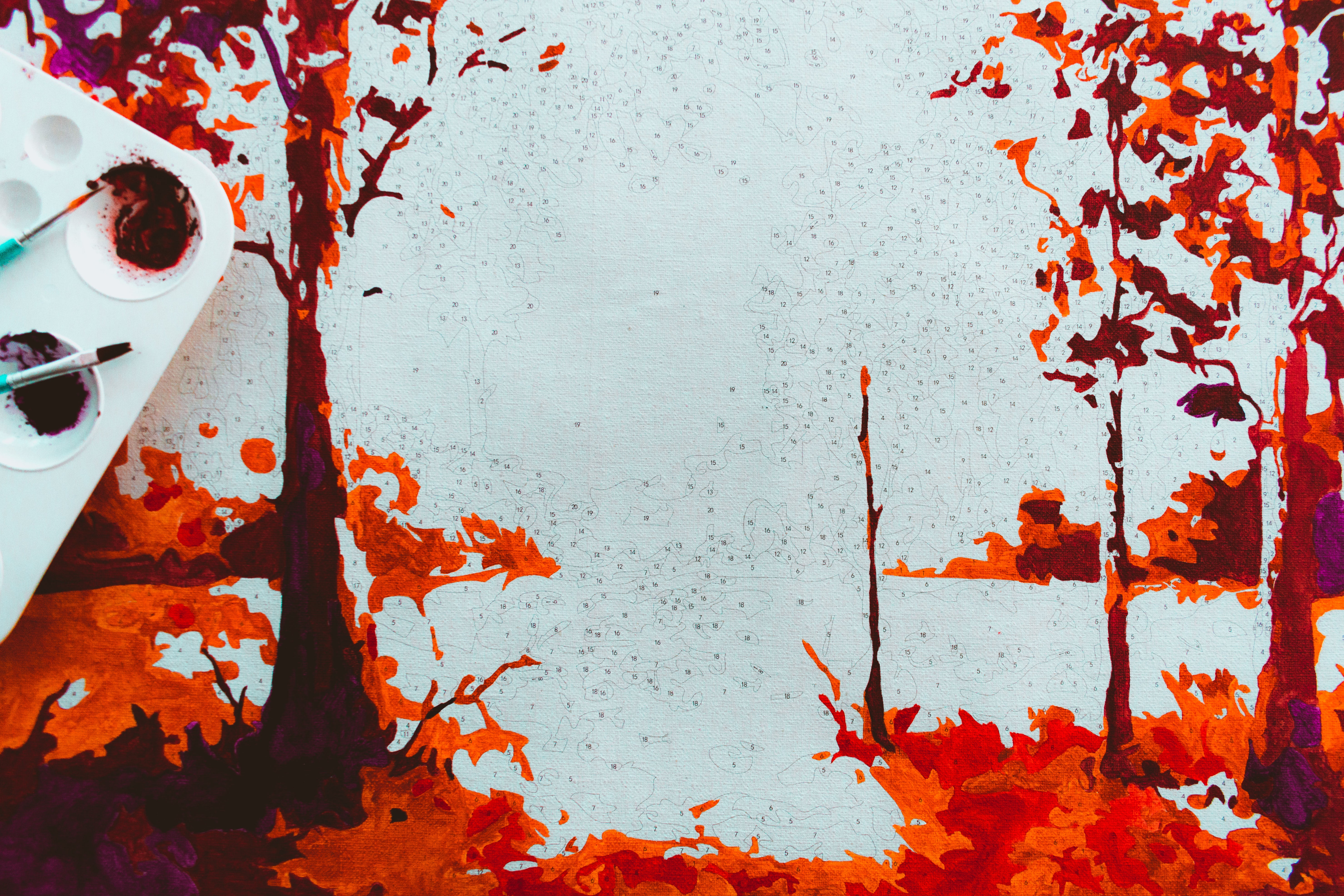 trees and body of water painting