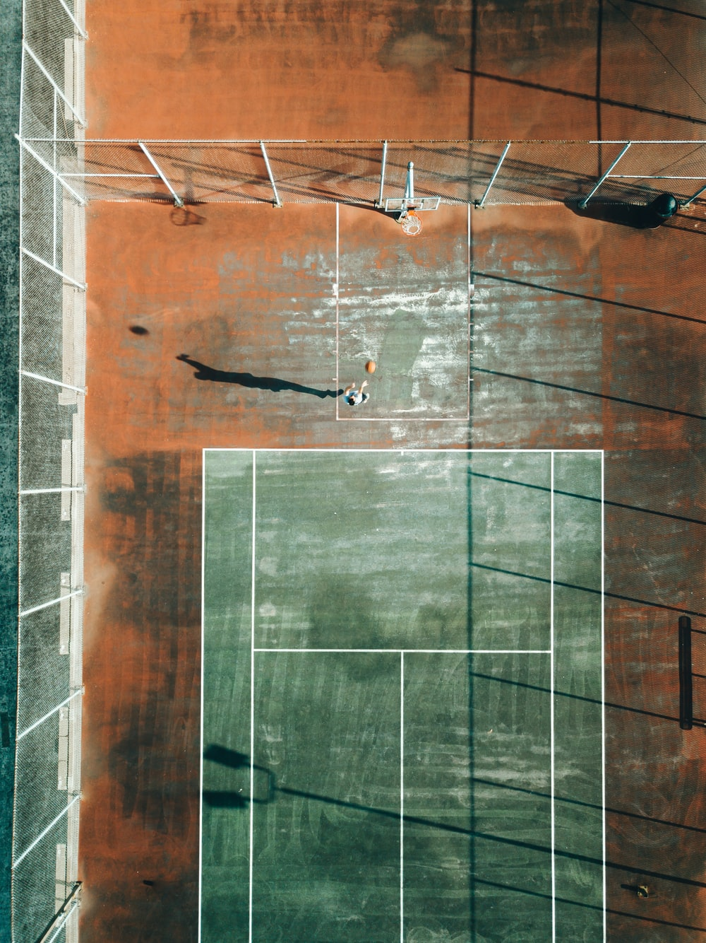 tennis court and basketball court top view