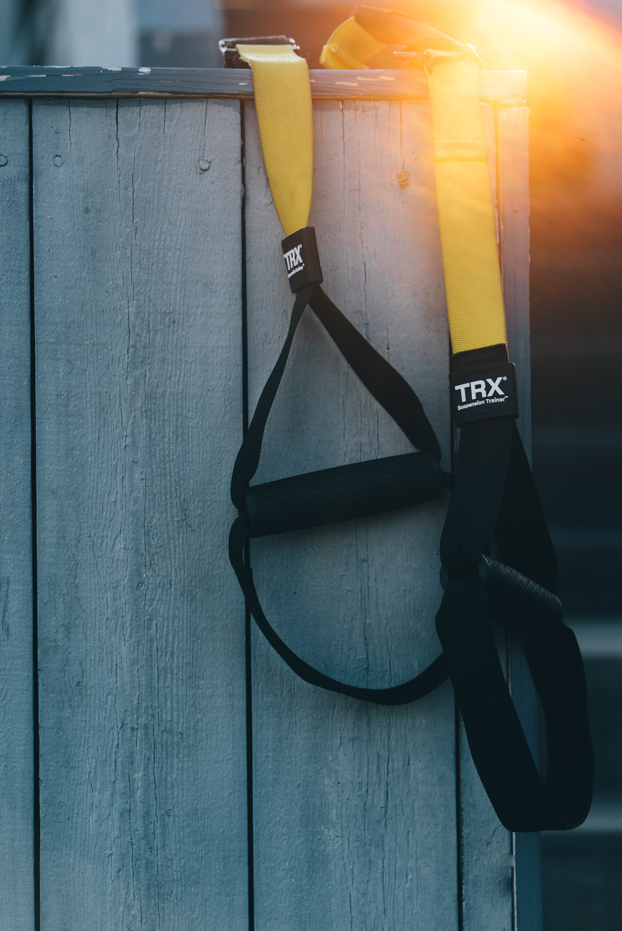 black and yellow TRX resistance band
