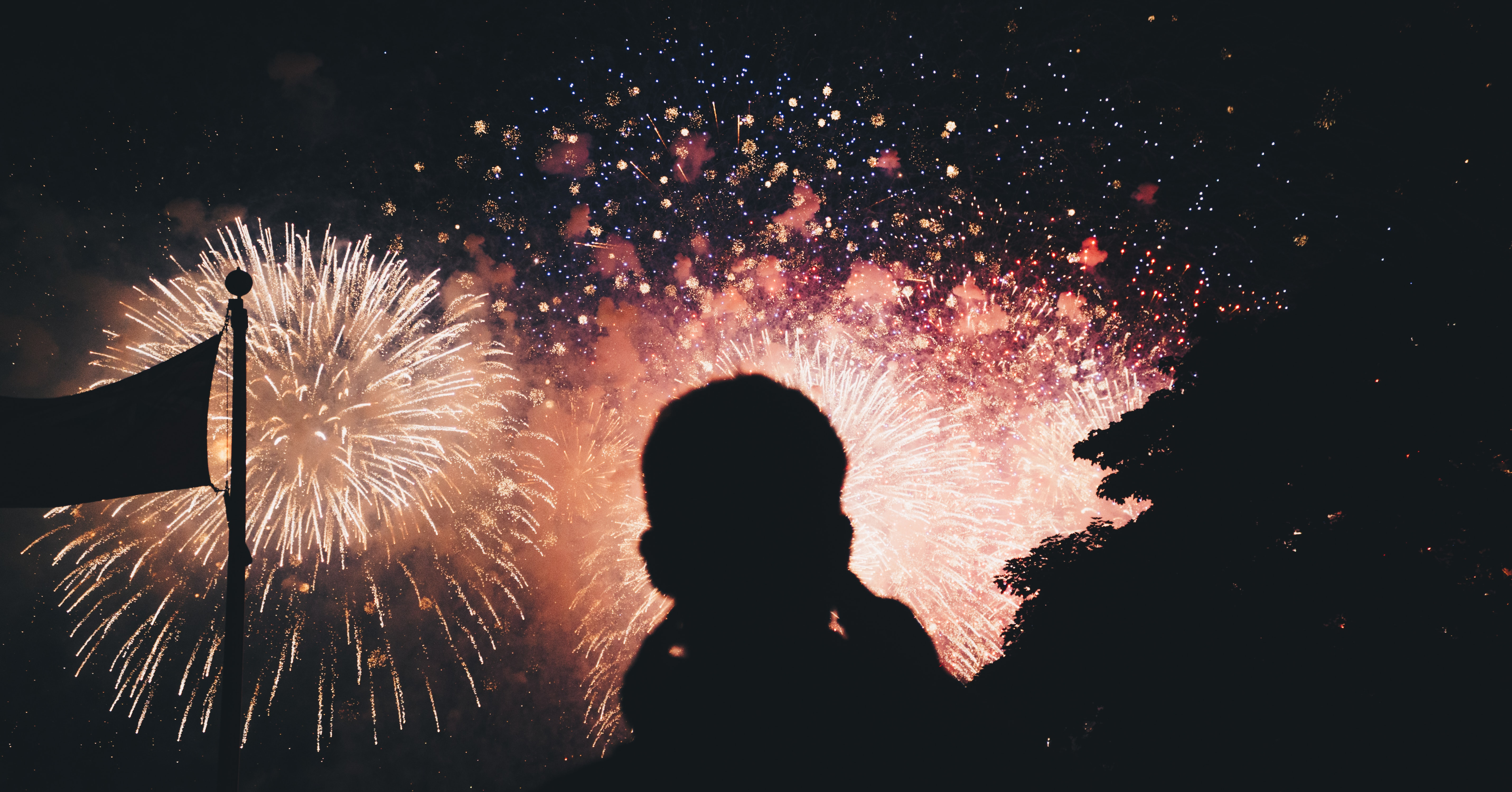 silhouette photo of fireworks