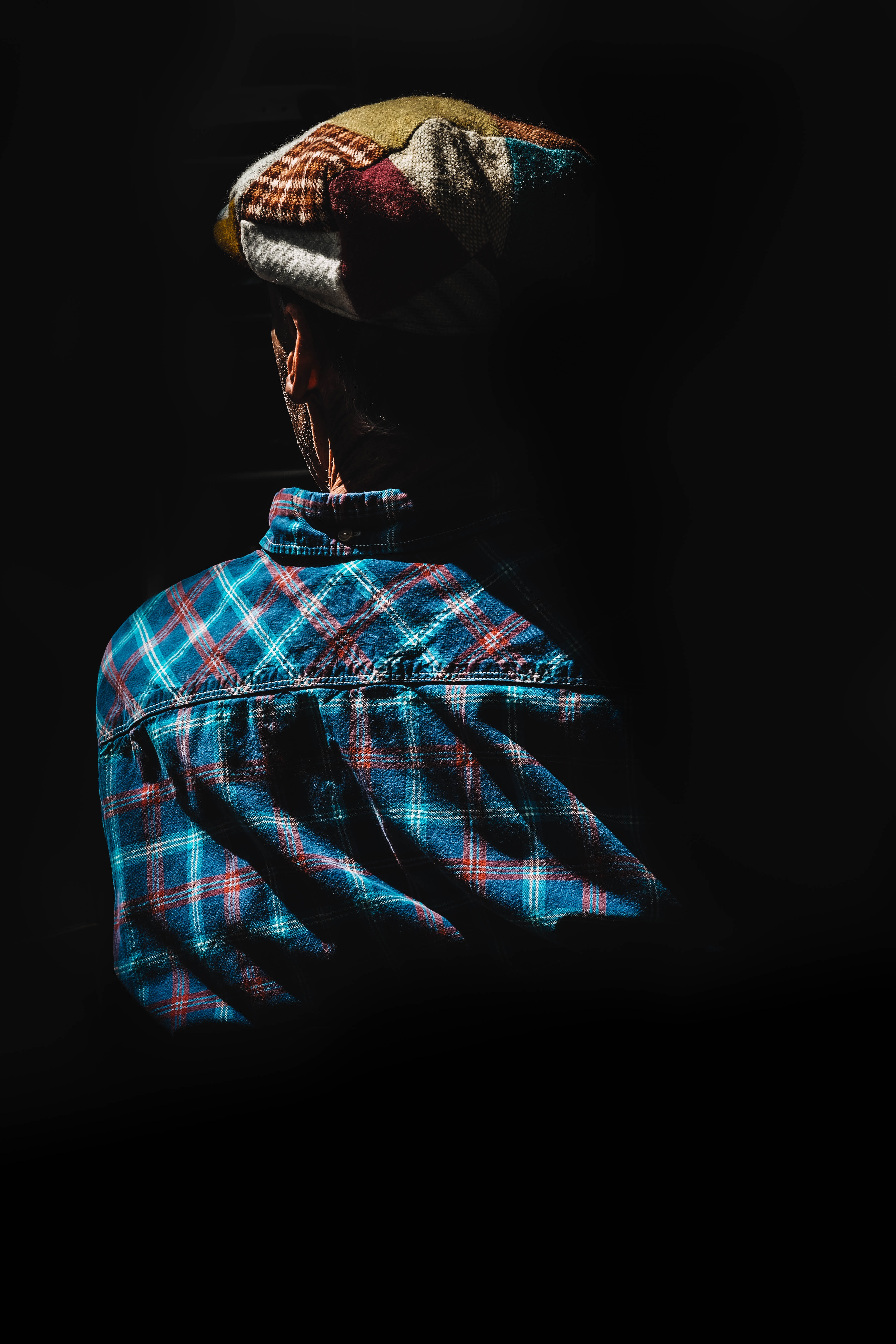 woman wearing blue and red plaid collared shirt